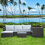 bigzzia Garden Furniture Set 5PC Rattan Modular Corner Sofa Set Garden Corner Sofa Coffee Table With Cushions