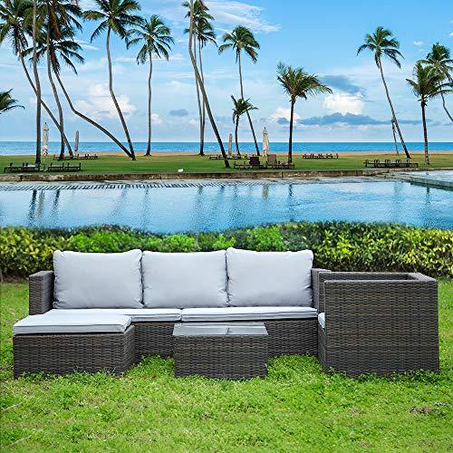 bigzzia Juego de muebles de jardín de 5 piezas de ratán modular sofá esquinero de jardín sofá mesa de centro con cojines