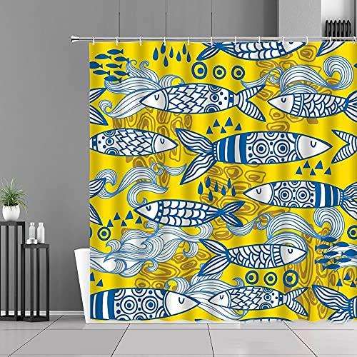 XCBN Cortinas de Ducha de Animales de Peces de Colores de Dibujos Animados Estrellas patrón de corazón de Onda de mar decoración de habitación de niños Cortina de baño Pantalla A8 180x180cm