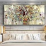 HSFFBHFBH Árbol de la Vida de Gustav Klimt Paisaje Pared Arte Lienzo Carteles escandinavos e Impresiones Cuadro de Arte de Pared para Sala de Estar 50x100 cm Marco Interior