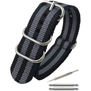 Calme(カルム)NATO ベルト 腕時計 バンド G10 プレミアム ナイロン 交換簡単 ストラップ 16㎜ ~ 24㎜ 交換説明書付き (20㎜, グレー×ブラック)