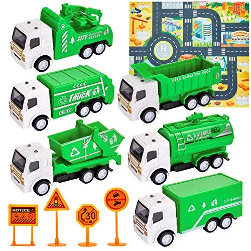 HERSITY Müllauto Spielzeug Müllwagen Kinder mit Spielmatte Müllabfuhr LKW Kinderspielzeug Geschenk für Kinder Jungen 3 Jahre, 6 Stück Müll Autos
