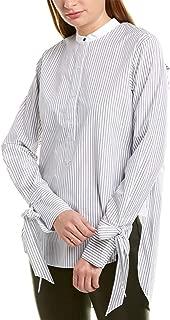rag & bone Womens Pinstripe Silk-Trim Top, S, White