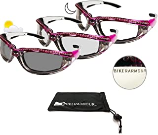 Motorcycle Day Night Transition Glasses for Women. Chrome and Pink frame with rhinestones