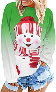 Ackful Womens Christmas Long Sleeve Sweatshirt Dyed CartoonSnowman Printed Pullover
