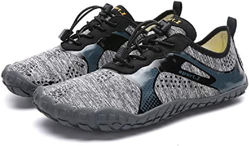 Fuxitoggo Bottes de randonnée pour Hommes, Chaussures de Marche, Treillis, Camping, randonnée (Couleuré   gris, Taille   EU 44)