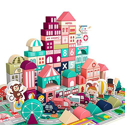 XHING Building Blocks, 100 PC-Stadt Geometrische Form Assembled Bausteine Kinder Spielzeug Holzspielzeug Frühe Lernspielzeug for Kinder (Color : 120PCS)