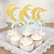CheeseandU 30Pcs Moon Star Glitter Cupcake Toppers Gold Moon&Silver Star with Pink/Blue Bowknot Cake Topper for Birthday Party Baby Shower Gender Reveal Wedding Eid Mubarak Party Decorations Blue