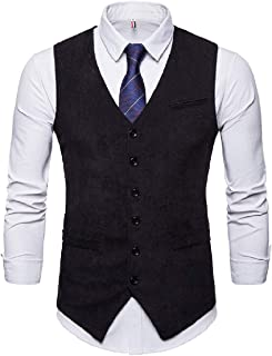 Mogogo Men's Solid Colored Corduroy Single-Breasted Casual V Neck Suit Waistcoat