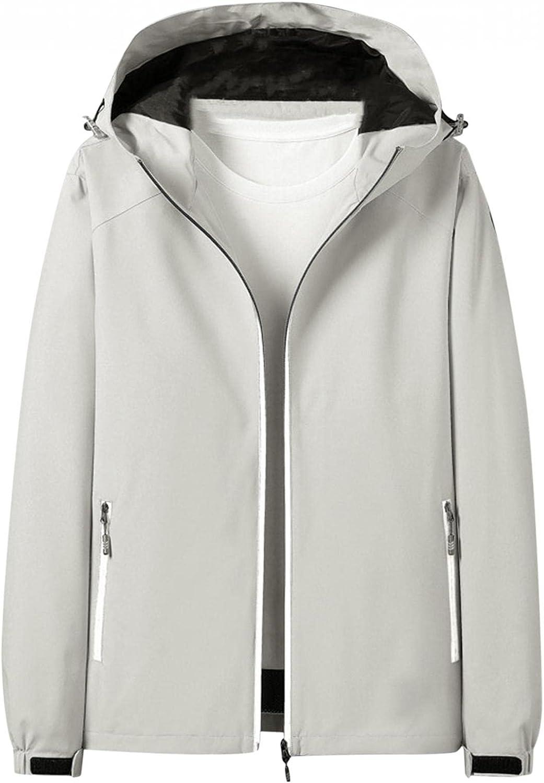 FengGa Waterproof Jackets for Men Lightweight with Hood Outdoor Luminous Windproof Rain Jacket Zipper Raincoat