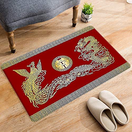 Alfombra de terciopelo suave con diseño de dragón y fénix, para sala de estar, dormitorio, antideslizante, cálida, interior y exterior, para yoga, meditación, para niños, 120 x 160 cm