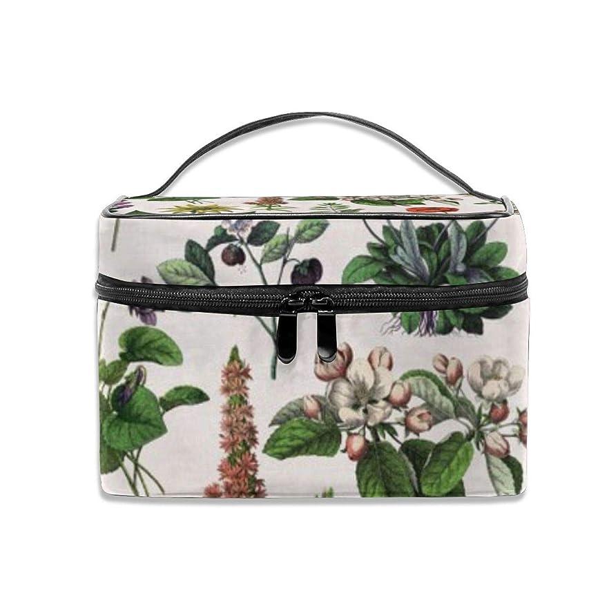 米国奇跡的な粘着性ヴィンテージボタニカルプリント化粧バッグポータブル旅行化粧品バッグオーガナイザージッパートイレタリーバッグ用女性