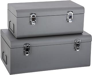 ATMOSPHERA Set de 2 Coffres Malles de Rangement en métal - Esprit Cantine - Coloris Gris