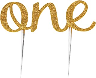 LOVELY BITON 1st First Birthday One Cake Topper Decoration Single Sided Double Gold Glitter