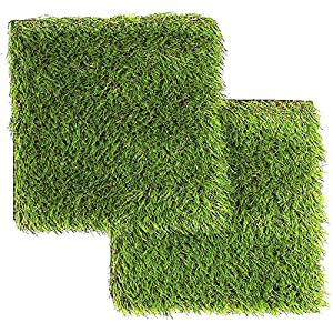 LULIND – Artificial Grass Square Tiles, 12.2 x 12.2 Inch (2 Pack)