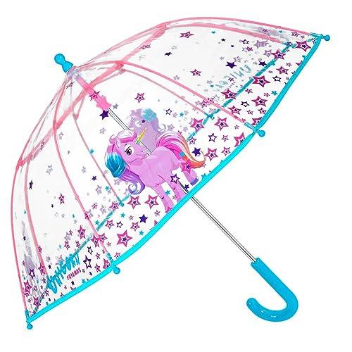 c2e6505a9 PERLETTI Unicorn Kids Umbrella - Bubble Stick Umbrella for Girls -  Windproof and Resistant Dome Brolly