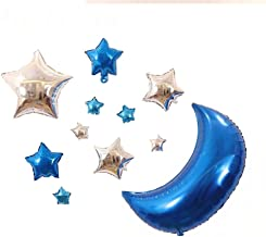 AnnoDeel 11 pcs Star Mylar Balloons, 30inch Big Blue Moon Balloons and Silver Star Foil Balloons for Baby Party Birthday D...