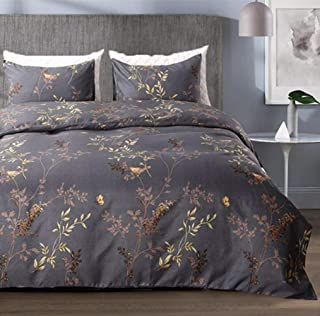 Tebery Ultra Soft Microfiber Duvet Cover Set with Zipper Closure Dark Grey and Gold Tree Pattern (King)