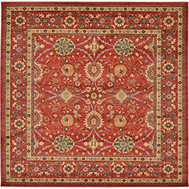 A2Z Rug Heritage Collection Persian Traditional Area Rug Red, Red - 8' x 8' FT High Class Living Dinning Room & Bedroom Rugs, Oriental Floor and Carpets