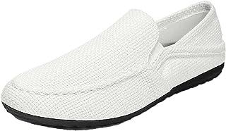 Hommes Mocassins Couleur Unie Slip-on Low-Top Casual Chaussures Doux Plat Antidérapant Portable Respirant Chaussures en Toile