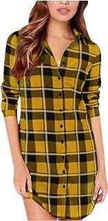Women Blouses Tops Buffalo Check Plaid Long Sleeve Collar Neck Casual Button Down Shirts