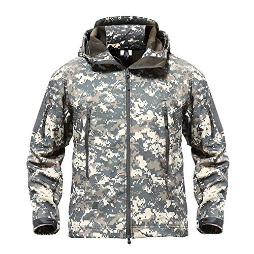 TACVASEN Men's Outdoor Camo Softshell Hooded Tactical Fleece Jacket Coat ACU,US L