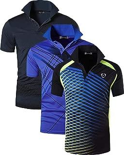 jeansian Men's 3 Packs Sport Quick Dry Short Sleeves Polo T-Shirt Tee Tshirt Golf Tennis Bowling Fit LSL195