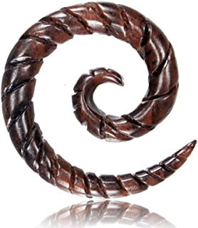 Narraholz Piercing in legno con incisione a spirale marrone scuro spirale 4 mm 6 mm 8 mm spirale dilatatore tribale realiz...