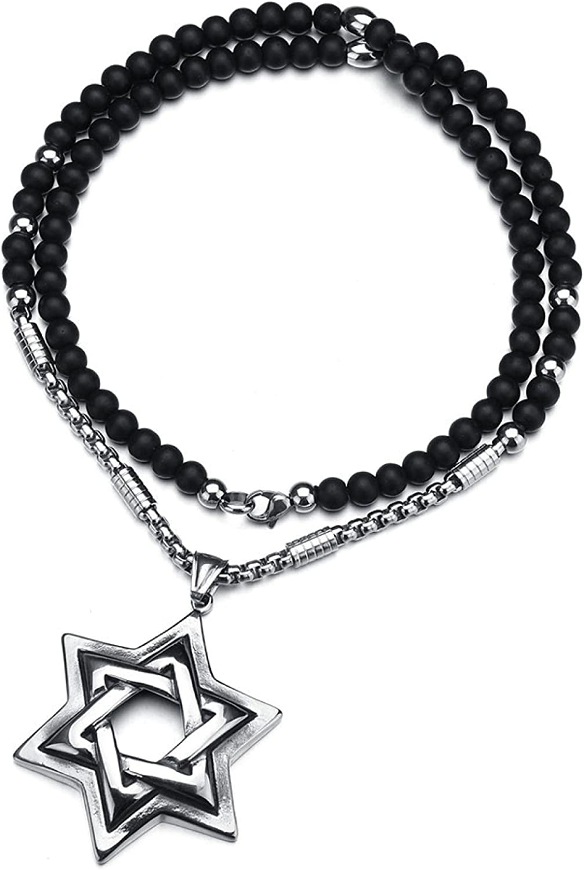 Complete Free Shipping Fashion Pendant Star of David Shield Charm Black St Choker Beads It is very popular