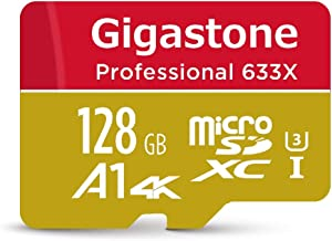 Gigastone 128GB Micro SD Card MicroSD U3 UHS-I C10, UHD 4K Video Recording, 4K Gaming, Read/Write 95/40 MB/s, with MicroSD to SD Adapter, Nintendo Dashcam Gopro Canon Nikon Camera Samsung Drone