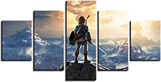 NATVVA 5 Piece Canvas Art Legend Zelda Painting Game Poster Modular Wall Pictures for Living Room