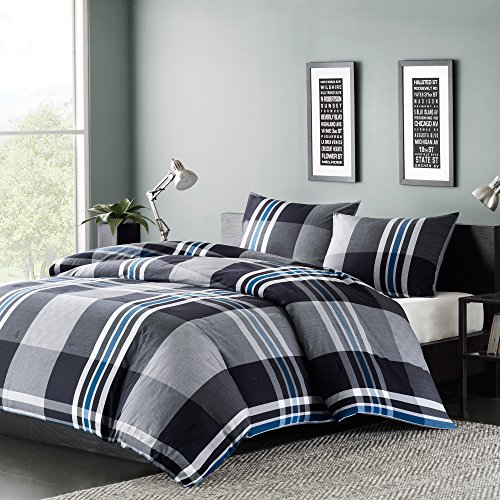 "INK+IVY Nathan Cozy Cotton Comforter Set-Casual Cabin Lodge Design All Season Down Alternative Bedding with Matching Shams, Twin(72""x92""), Plaid Grey, 2 Piece"