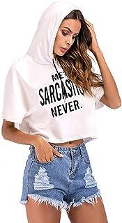 007XIXI Ladies Tracksuit Plus Size,Women Fashion Drawstring Pink Short Sleeve Hooded Casual Crop Top