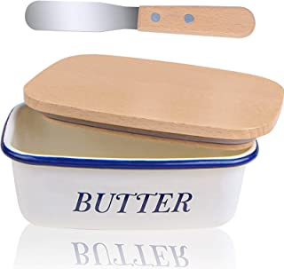 Webake Enamel Butter Dish with Lid, Farmhouse Butter Dish and Butter Knife White Butter Container for Counter Unbreakable ...
