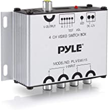 4-Channel Car Video Switcher Box - 4 Camera Input Port 1 Video Output via Vehicle Monitor 4 Way Multi Vid Splitter Multiplexer w/ Individual Switch For Updated Real Time Live Streaming - Pyle PLVSWI15