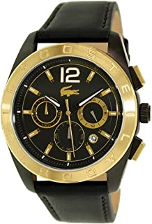 Lacoste 2010741 Calfskin Round Analog Watch for Men - Black and Gold