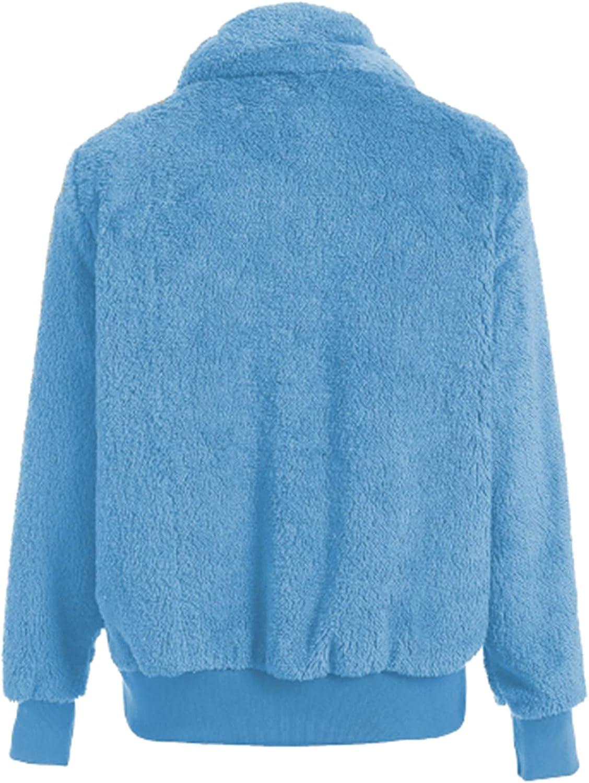 BEUU Women's Fashion Long Sleeve Lapel Zip Up Faux Shearling Shaggy Cropped Oversized Outwear Coat Jacket Warm Winter