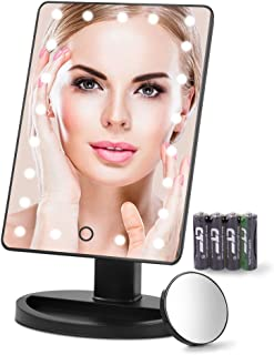 Makeup Mirror 21 LED Lighted Vanity Mirror with Detachable 10X Magnifying Spot Mirror and Battery Included