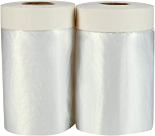 TopSoon 2-Pack Pre-Taped Masking Film 21.6-inch Wide by 65.6-Feet Long Plastic Sheeting with Tape