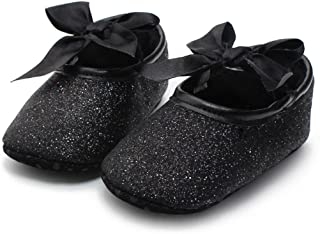 DZT1968 Baby Girl Soft Leather Bowknot Bling Bling Shoes Prewalker Socks Crib Sneakers