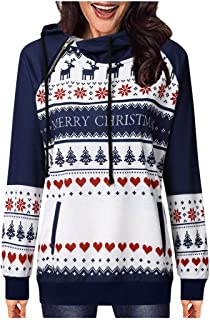 Christmas Women Winter Print Tops Zip Sweatshirt Hoodie Blouse Pullover T-Shirt