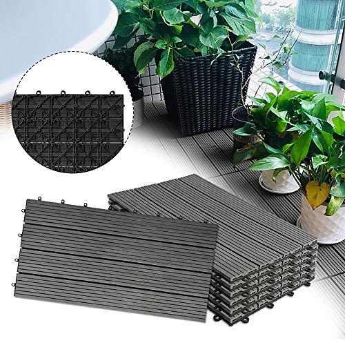 Froadp 12 Stück WPC Kunststoff Fliesen Wasserfilterbar Terrassen- & Balkonfliesen Zusammenbaubar Holz Optik Garten Klickfliese Gesamt ca. 2m²(30x60cm/Stück, Anthrazit)