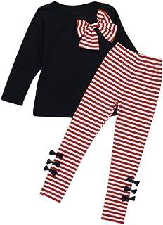 YANG-YI Kids Baby Girls Clothing Long Sleeve Bowknot Dress+Stripe Pants Set White