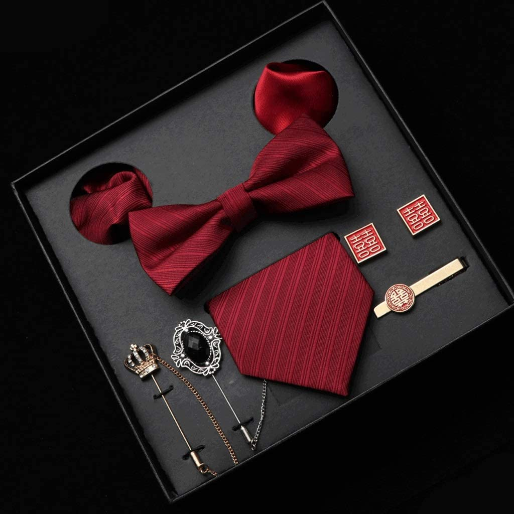 RENSLAT New Men Tie Set 8CM Dress Necktie Bowtie Corsage Pocket Square and Ties Clip Gift Box for Business Wedding (Color : B)