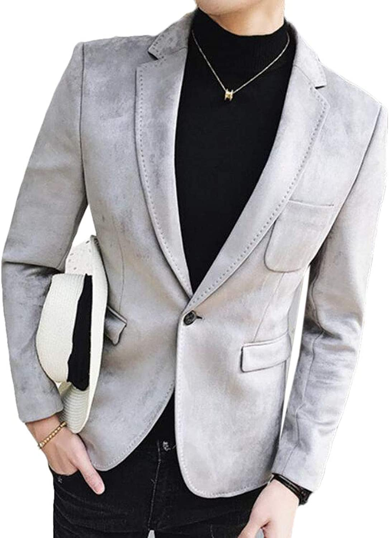 72eb6c14bc1 UUYUK Men Long Sleeve One Button Suits Blazer Jackets Coat Suede Lapel  nqriww4057-New Clothing