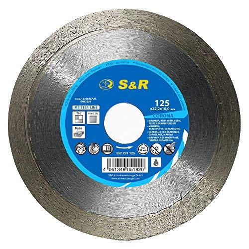 S&R Diamanttrennscheibe, Trennscheibe 125mm zum sauberen Trennen von harten Keramikfliesen, glasierten Fliesen, Bodenfliesen, Feinsteinzeug