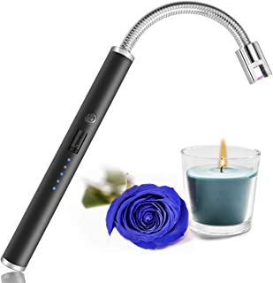 Candle Lighter, USB Charging Electric Arc Lighter with LED Power Display, Rotatable Long Neck Lighter Suitable for Lighting Candles, Camping, Cooking, Barbecue Fireworks.(Black)