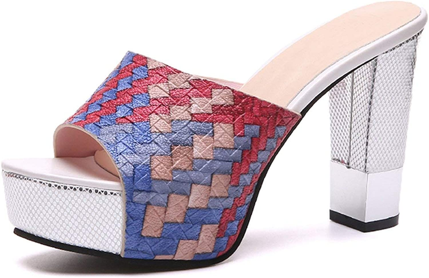 Women Summer Slippers Sexy Super Square High Heels Peep Toe Party shoes Woman Platform Sandals