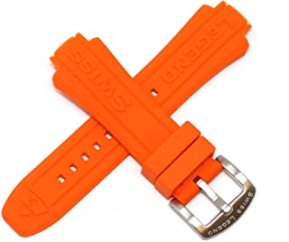 Swiss Legend 24MM Orange Silicone Rubber Watch Strap & Silver Stainless Buckle fits 44mm Neptune Watch