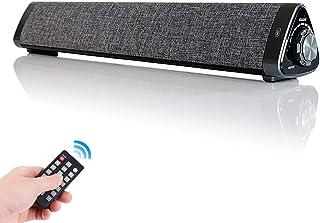 FarmerTech PCスピーカー Bluetooth 5.0 ワイヤレスサウンドバー USB-DAC 『2019アナウンス無し版』 三角 マイク内蔵 10W 2.0ch ブルートゥーススピーカー TV/PC対応 シアターバー ハンズフリー USB AUX TFカード対応 高音質 リモコン付け 日本語取扱説明書